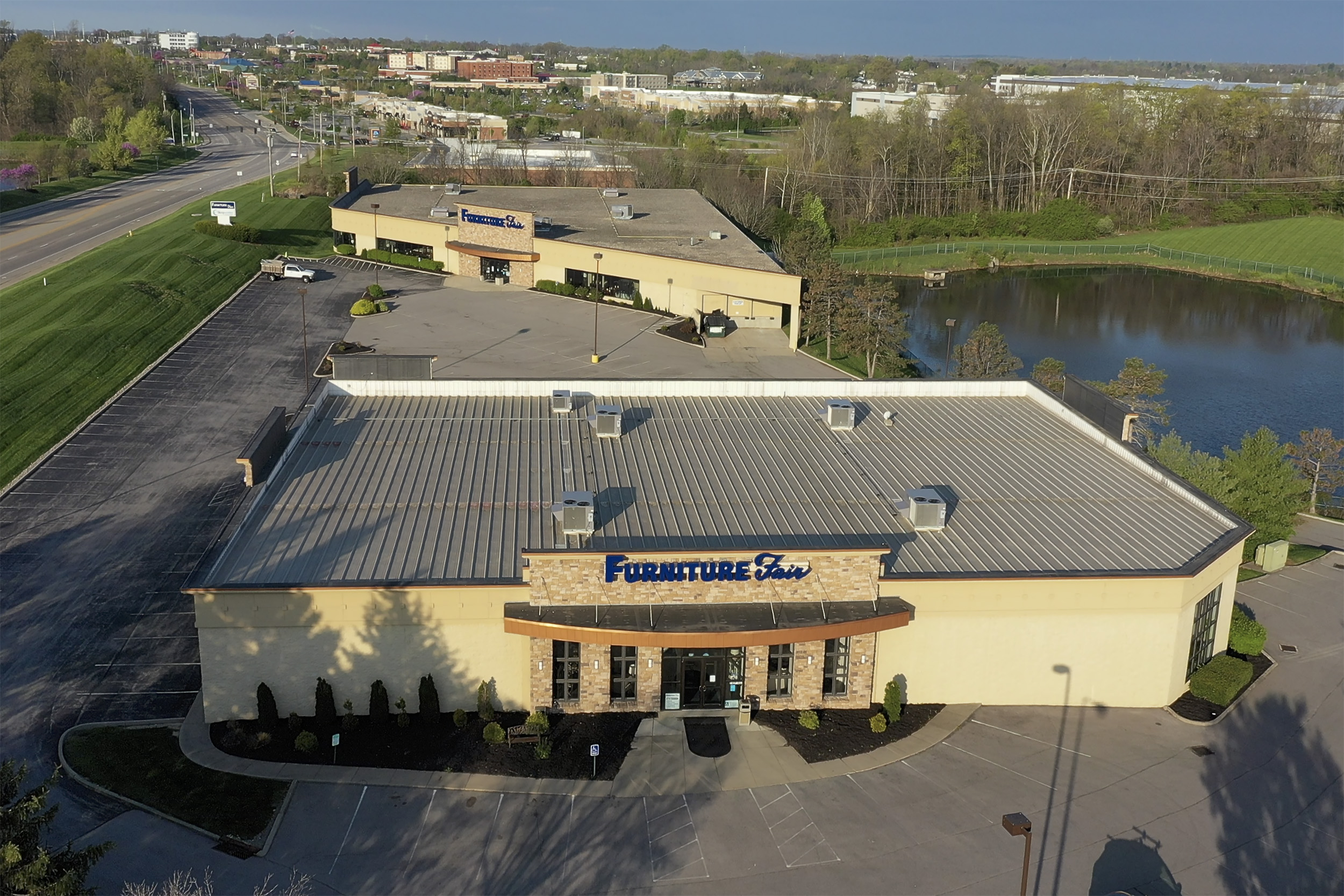 Exterior Drone shot of Furniture Store
