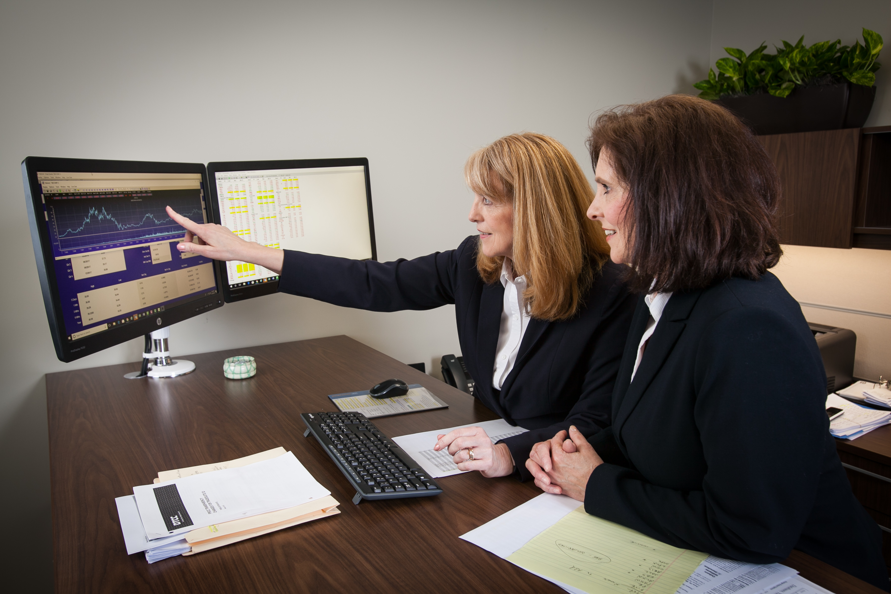 Two financial planners and computer